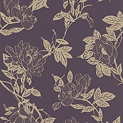 Graham & Brown - Amethyst/Gold Jiao Wallpaper