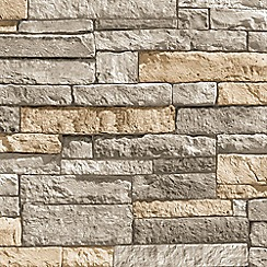 Superfresco Easy - Beige Ledgestone Stone Effect Paste the Wall Wallpaper