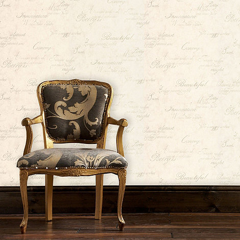 Graham & Brown - Ivory concrete script wallpaper