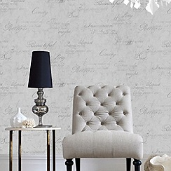 Graham & Brown - Grey concrete script wallpaper