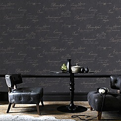 Graham & Brown - Charcoal concrete script wallpaper
