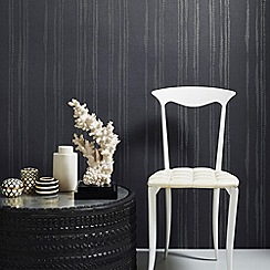 Kelly Hoppen - Midnight Kelly Hoppen laddered stripe wallpaper