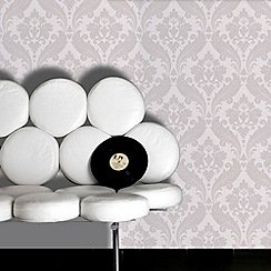 Kelly Hoppen - Soft grey Kelly Hoppen vintage flock wallpaper