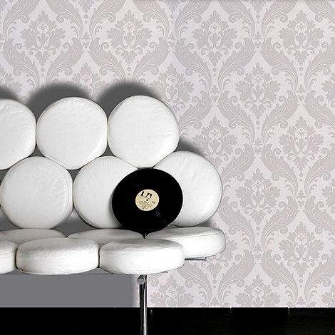 Kelly Hoppen - Soft grey Kelly Hoppen vintage flock wallpaper