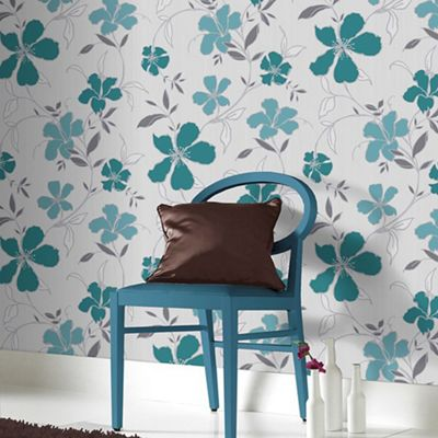 Superfresco Easy Teal & Silver Rapture Floral Wallpaper