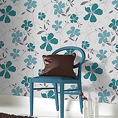 Superfresco Easy - Teal & Silver Rapture Floral Wallpaper