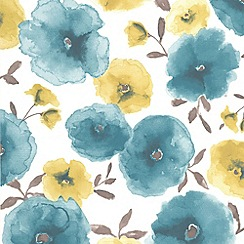 Superfresco Easy - Teal Poppies Wallpaper