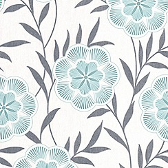 Superfresco Easy - Teal Flora Wallpaper