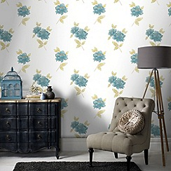 Graham & Brown - Teal Lulu Wallpaper