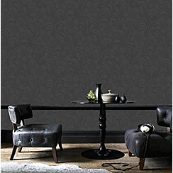 Graham & Brown - Charcoal Jacquard Floral Wallpaper