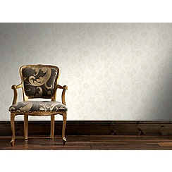 Graham & Brown - White Jacquard Floral Wallpaper