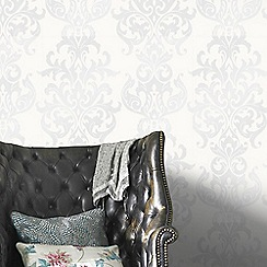 Superfresco Easy - White Versaille Damask Wallpaper