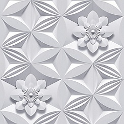Marcel Wanders - Grey Wall Flower Wallpaper