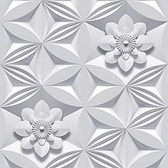 Marcel Wanders - Grey Wall Flower Wallpaper