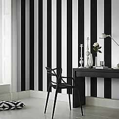 Superfresco Easy - Black and White Rayure Wallpaper