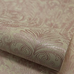 Julien Macdonald - Pink & White Burlesque Damask Wallpaper