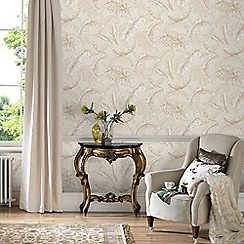 Julien Macdonald - Cream & Gold Gilded Feather Wallpaper
