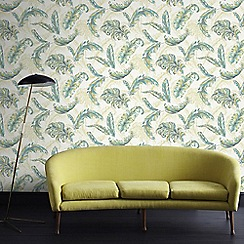 Julien Macdonald - Green & Teal Gilded Feather Wallpaper