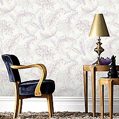 Julien Macdonald - Pink & Lilac Gilded Feather Wallpaper