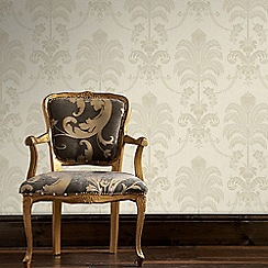 Julien Macdonald - Cream & Gold La Palma Damask Wallpaper