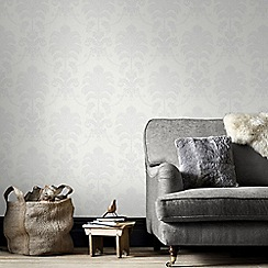 Julien Macdonald - White La Palma Damask Wallpaper