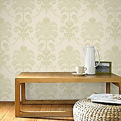 Julien Macdonald - Green & Cream La Palma Damask Wallpaper