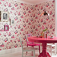 Julien Macdonald - Cream & Fuchsia  Exotica Birds & Floral Wallpaper