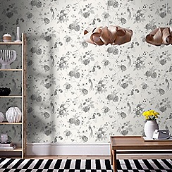 Julien Macdonald - White & Silver Exotica Birds & Floral Wallpaper