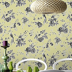 Julien Macdonald - Green & Grey Exotica Birds & Floral Wallpaper