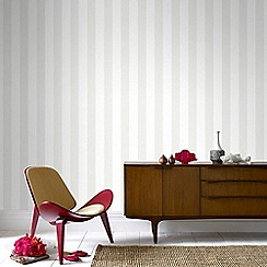 Julien Macdonald - White Glitterati Striped Wallpaper