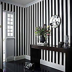 Julien Macdonald - Black & White Glitterati Striped Wallpaper