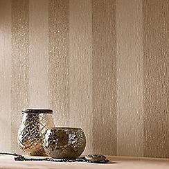 Julien Macdonald - Cream & Gold Glitterati Striped Wallpaper