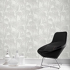 Julien Macdonald - White Honolulu Palm Leaf Wallpaper