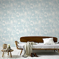 Julien Macdonald - Duck Egg Honolulu Palm Leaf Wallpaper
