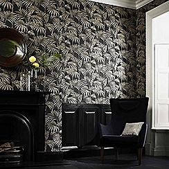 Julien Macdonald - Black & Gold Honolulu Palm LeafWallpaper
