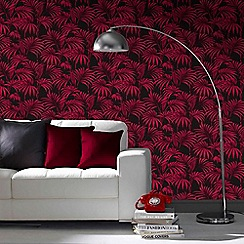 Julien Macdonald - Black & Fuchsia Honolulu Palm Leaf Wallpaper