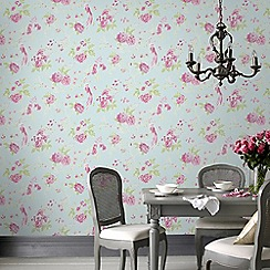 Julien Macdonald - Blue & Pink Exotica Floral Wallpaper