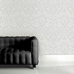 Julien Macdonald - White Burlesque Damask Wallpaper