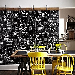 Superfresco Easy - Black & White Coffee Shop Inspired Graphic Wallpaper
