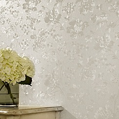 Superfresco - White Shimmer Floral Silk wallpaper