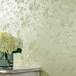 Superfresco - Green Shimmer Floral Silk wallpaper