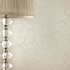 Superfresco - White Shimmer Leaf Scroll wallpaper