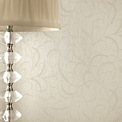 Superfresco - Cream Shimmer Leaf Scroll wallpaper