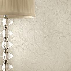 Superfresco - Cream Shimmer Leaf Scroll wallpaper