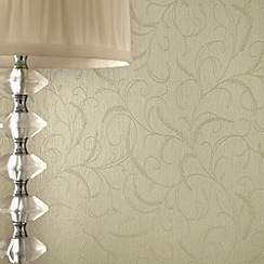 Superfresco - Green Shimmer Leaf Scroll wallpaper