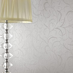Superfresco - Silver Mist Leaf Scroll wallpaper