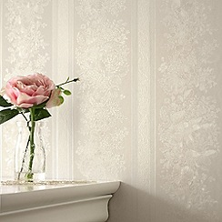 Superfresco - Cream Shimmer Floral Stripe wallpaper
