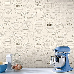 Superfresco Easy - Cream Afternoon Tea Motif Wallpaper