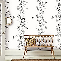 Graham & Brown - White & Black April Birds Print Wallpaper