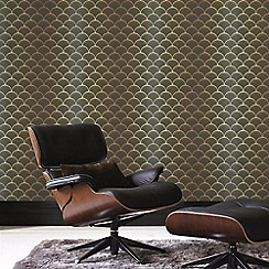 Graham & Brown - Gold & Black Geometruc Prince Charles Wallpaper